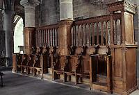 Europe/France/Auvergne/63/Puy-de-Dôme/Besse-en-Chandesse: L'église Saint-André (fin XIIème siècle - architecture romane) - Détail stalle XVIème siècle