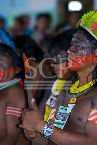 Altamira, Brazil. Encontro Xingu protest meeting about the proposed Belo Monte hydroeletric dam and other dams on the Xingu river and its tributaries.