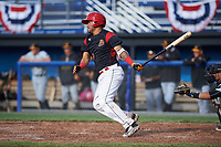 Batavia Muckdogs third baseman Rony Cabrera (26) at bat during a game against the West Virginia Black Bears on June 25, 2017 at Dwyer Stadium in Batavia, New York.  Batavia defeated West Virginia 4-1 in nine innings of a scheduled seven inning game.  (Mike Janes/Four Seam Images)
