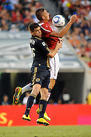 Federico Macheda (27) of Manchester United and Cristian Arrieta (26) of the Philadelphia Union. Manchester United (EPL) defeated the Philadelphia Union (MLS) 1-0 during an international friendly at Lincoln Financial Field in Philadelphia, PA, on July 21, 2010.