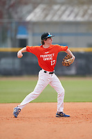 Shortstop Chase McKelvey (17) throws to first base during the Perfect Game National Underclass East Showcase on January 23, 2021 at Baseball City in St. Petersburg, Florida.  (Mike Janes/Four Seam Images)