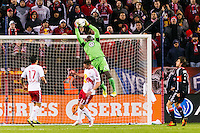 D. C. United goalkeeper Bill Hamid (28) grabs a ball. D. C. United defeated the New York Red Bulls 1-0 (2-1 in aggregate) during the second leg of the MLS Eastern Conference Semifinals at Red Bull Arena in Harrison, NJ, on November 8, 2012.