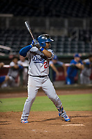 AZL Dodgers shortstop Donovan Solano (26) at bat during an Arizona League game against the AZL Indians 2 at Goodyear Ballpark on July 12, 2018 in Goodyear, Arizona. The AZL Indians 2 defeated the AZL Dodgers 2-1. (Zachary Lucy/Four Seam Images)