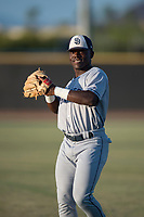 AZL Padres 1 second baseman Lee Solomon (28) warms up before an Arizona League game against the AZL Padres 2 at Peoria Sports Complex on July 25, 2018 in Peoria, Arizona. The AZL Padres 1 defeated the AZL Padres 2 10-1. (Zachary Lucy/Four Seam Images)