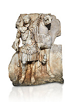 Roman Sebasteion relief sculpture of  an Imperial prince as Diokouros son of zeus, Aphrodisias Museum, Aphrodisias, Turkey.   Against a white background.<br /> <br /> An imperial youth wearing a military cloak and cuirass of a commander holds the reins of hios horse. This panel is next to a Claudius panel so is probably of Britanicus or Nero the emperors son and intended successor