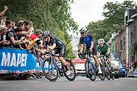 breakaway trio cheered up the Wijnpersstraat (Leuven local loop)<br /> <br /> U23 - Road Race (WC)<br /> race from Antwerp to Leuven (161.1km)<br /> <br /> UCI Road World Championships - Flanders Belgium 2021<br /> <br /> ©kramon