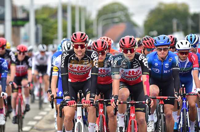 Tim Wellens (BEL) and Lotto-Soudal on the front at the start of La Fleche Wallonne 2020, running 202km from Herve to Mur de Huy, Belgium. 30th September 2020.<br /> Picture: ASO/Gautier Demouveaux | Cyclefile<br /> All photos usage must carry mandatory copyright credit (© Cyclefile | ASO/Gautier Demouveaux)