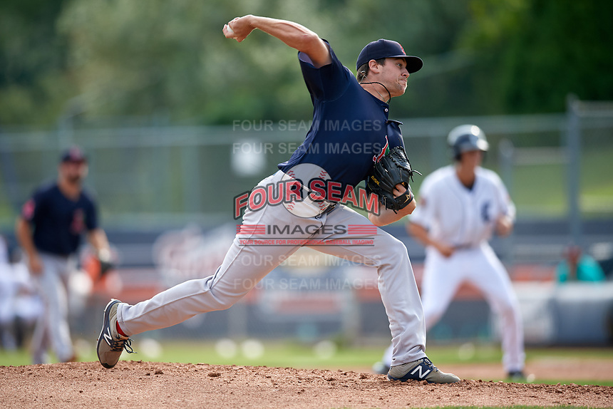 Lowell Spinners relief pitcher Hunter Haworth (36) delivers a pitch during a game against the Connecticut Tigers on August 26, 2018 at Dodd Stadium in Norwich, Connecticut.  Connecticut defeated Lowell 11-3.  (Mike Janes/Four Seam Images)