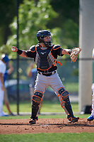 Jupiter Hammerheads catcher B.J. Lopez (18) during a Florida State League game against the Dunedin Blue Jays on May 15, 2019 at Jack Russell Memorial Stadium in Clearwater, Florida.  Jupiter defeated Dunedin 5-1 in seven innings, the first game of a doubleheader.  (Mike Janes/Four Seam Images)