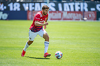 SAN JOSE, CA - APRIL 24: Ryan Hollingshead #12 of FC Dallas dribbles the ball during a game between FC Dallas and San Jose Earthquakes at PayPal Park on April 24, 2021 in San Jose, California.