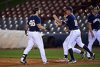 Connecticut Tigers Will Allen (46) celebrates with teammates Locke St. John (14) and Cam Gibson after a walk off hit during the second game of a doubleheader against the Brooklyn Cyclones on September 2, 2015 at Senator Thomas J. Dodd Memorial Stadium in Norwich, Connecticut.  Connecticut defeated Brooklyn 2-1.  (Mike Janes/Four Seam Images)