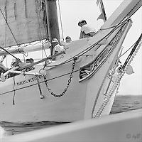 """The whole family aboard Chesapeake Skipjack Rober L Webster in this Fine Art Limited Edition Skipjack print from the """"Skipjack Sunday"""" collection."""