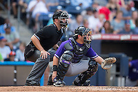 Louisville Bats catcher Julio Morillo (6) sets a target as home plate umpire David Soucy looks on during the game against the Durham Bulls at Durham Bulls Athletic Park on August 9, 2015 in Durham, North Carolina.  The Bulls defeated the Bats 9-0.  (Brian Westerholt/Four Seam Images)
