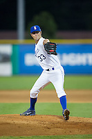 Burlington Royals relief pitcher Alex Massey (33) in action against the Kingsport Mets at Burlington Athletic Stadium on July 18, 2016 in Burlington, North Carolina.  The Royals defeated the Mets 8-2.  (Brian Westerholt/Four Seam Images)