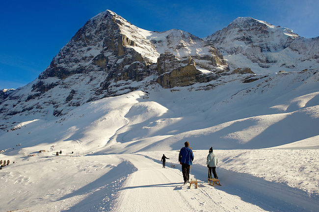 Kleiner Scheidegg in winter looking at The North Face Of the Eiger.. Swiss Alps, Switzerland