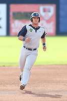 Jake Mayers #12 of the Hillsboro Hops runs the bases during a game against the Vancouver Canadians at Nat Bailey Stadium on July 24, 2014 in Vancouver, British Columbia. Hillsboro defeated Vancouver, 7-3. (Larry Goren/Four Seam Images)