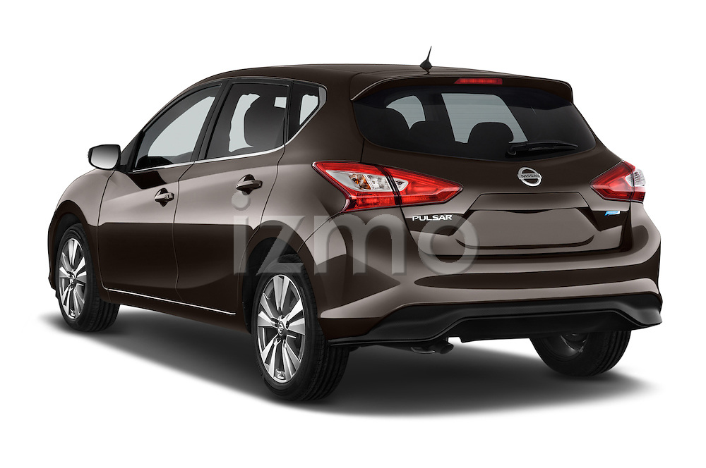 Car pictures of rear three quarter view of a 2015 Nissan Pulser Acenta 5 Door Hatchback 2WD Angular Rear