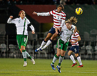 Shannon Boxx heads the ball in the second half. USWNT played played a friendly against Ireland at JELD-WEN Field in Portland, Oregon on November 28, 2012.