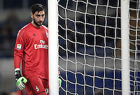 Calcio, Serie A: Lazio, Stadio Olimpico, 13 febbraio 2017.<br /> Milan' s goalkeeper Gianluigi Donnarumma in action<br /> during the Italian Serie A football match between Lazio and Milan at Roma's Olympic Stadium, on February 13, 2017.<br /> UPDATE IMAGES PRESS/Isabella Bonotto