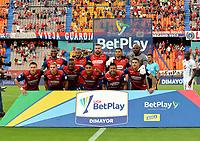 MEDELLÍN - COLOMBIA, 14-08-2021:Jugadores del Independiente Medellín posan para una foto previo al  partido por la fecha 5 entre Independiente Medellin y América de Cali  como parte de la Liga BetPlay DIMAYOR II 2021 jugado en el estadio Atanasio Girardot  de la ciudad de Medellín / Players of Independiente Medellin  pose to a photo prior Match for the date 5 between Independiente Medellin  and America de Cali as part of the BetPlay DIMAYOR League II 2021 played at Atansio Girardot  stadium in Medellin city. Photo: VizzorImage / Luis Benavides / Contribuidor