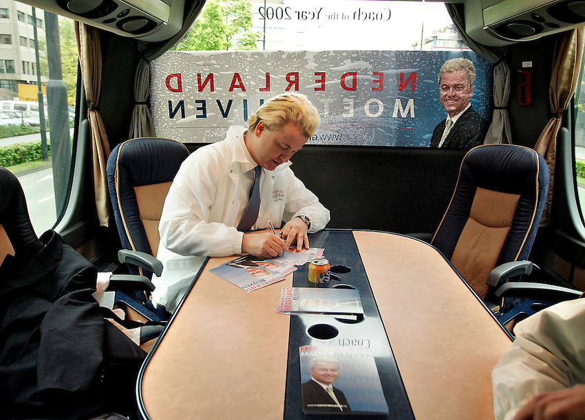 2005, Lone Dutch populist politician Geert Wilders in his campaing truck  during a political rally in Eindhoven,  photo Michael Kooren