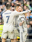 Sergio Ramos of Real Madrid celebrates with teammates during their La Liga 2016-17 match between Real Madrid and Malaga CF at the Estadio Santiago Bernabéu on 21 January 2017 in Madrid, Spain. Photo by Diego Gonzalez Souto / Power Sport Images