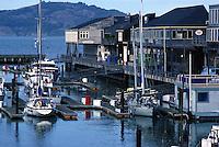 Boats docked at the pier in San Francisco Bay, San Francisco, California..