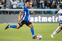 SAN JOSE, CA - AUGUST 13: Judson #93 of the San Jose Earthquakes dribbles the ball during a game between San Jose Earthquakes and Vancouver Whitecaps at PayPal Park on August 13, 2021 in San Jose, California.