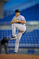 Jupiter Hammerheads relief pitcher Alejandro Mateo (17) delivers a pitch during a game against the Dunedin Blue Jays on August 14, 2018 at Dunedin Stadium in Dunedin, Florida.  Jupiter defeated Dunedin 5-4 in 10 innings.  (Mike Janes/Four Seam Images)