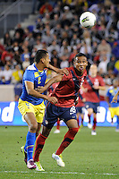 Juan Agudelo (18)  of the United States and Eduardo Morante (2)  of Ecuador. The men's national team of the United States (USA) was defeated by Ecuador (ECU) 1-0 during an international friendly at Red Bull Arena in Harrison, NJ, on October 11, 2011.
