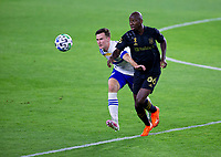 LOS ANGELES, CA - SEPTEMBER 02: Bradley Wright-Phillips #66 of the Los Angeles Football Club turns with the ball during a game between San Jose Earthquakes and Los Angeles FC at Banc of California stadium on September 02, 2020 in Los Angeles, California.