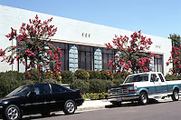 Porterville CA: Porterville City Hall. Fred L. Swartz, 1939. South-Cleveland St.--facade.  Photo 2000.