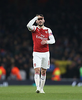 Arsenal's Sead Kolasinac at the end of the game<br /> <br /> Photographer Rob Newell/CameraSport<br /> <br /> UEFA Europa League First Leg - Arsenal v Napoli - Thursday 11th April 2019 - The Emirates - London<br />  <br /> World Copyright © 2018 CameraSport. All rights reserved. 43 Linden Ave. Countesthorpe. Leicester. England. LE8 5PG - Tel: +44 (0) 116 277 4147 - admin@camerasport.com - www.camerasport.com