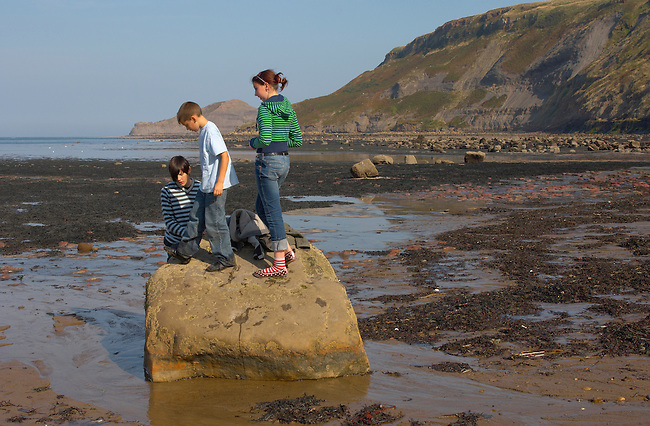 children playing - Runswick Bay - North Yorkshire - England