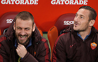 Calcio, Serie A: Roma vs Inter. Roma, stadio Olimpico, 19 marzo 2016.<br /> Roma's Daniele De Rossi, left, and Francesco Totti sit on the bench during the Italian Serie A football match between Roma and FC Inter at Rome's Olympic stadium, 19 March 2016. The game ended 1-1.<br /> UPDATE IMAGES PRESS/Isabella Bonotto