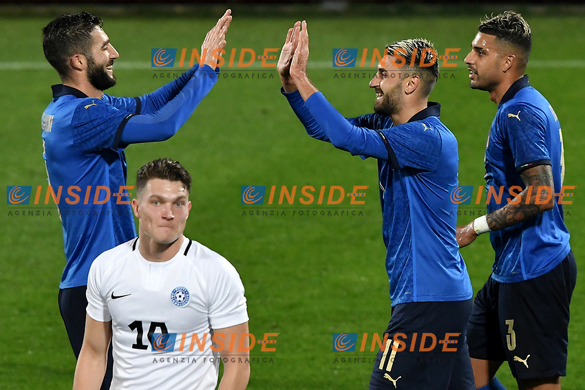 Vincenzo Grifo of Italy (R) celebrates with Roberto Gagliardini after scoring the goal of 1-0 during the friendly football match between Italy and Estonia at Artemio Franchi Stadium in Firenze (Italy), November, 11th 2020. Photo Andrea Staccioli/ Insidefoto