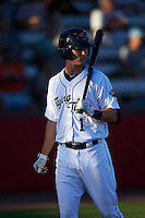 Lakeland Flying Tigers shortstop A.J. Simcox (1) during a game against the Tampa Yankees on April 7, 2016 at Henley Field in Lakeland, Florida.  Tampa defeated Lakeland 9-2.  (Mike Janes/Four Seam Images)