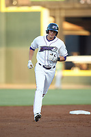 Craig Dedelow (26) of the Winston-Salem Dash rounds the bases after hitting a home run against the Down East Wood Ducks at BB&T Ballpark on May 10, 2019 in Winston-Salem, North Carolina. The Wood Ducks defeated the Dash 9-2. (Brian Westerholt/Four Seam Images)