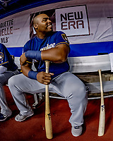 25 March 2019: Milwaukee Brewers first baseman Jesus Aguilar sits in the dugout prior to an exhibition game against the Toronto Blue Jays at Olympic Stadium in Montreal, Quebec, Canada. The Brewers defeated the Blue Jays 10-5 in the first of two MLB pre-season games in the former home of the Montreal Expos. Mandatory Credit: Ed Wolfstein Photo *** RAW (NEF) Image File Available ***