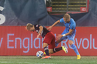 FOXBOROUGH, MA - SEPTEMBER 02: Alexander Callens #6 of New York City FC fouls Kelyn Rowe #11 of New England Revolution during a game between New York City FC and New England Revolution at Gillette Stadium on September 02, 2020 in Foxborough, Massachusetts.