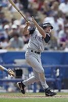 Mark Grace of the Arizona Diamondbacks bats during a 2002 MLB season game against the Los Angeles Dodgers at Dodger Stadium, in Los Angeles, California. (Larry Goren/Four Seam Images)