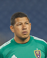 Real Salt Lake goalkeeper Nick Rimando (18). In a Major League Soccer (MLS) match, Real Salt Lake (white)defeated the New England Revolution (blue), 2-1, at Gillette Stadium on May 8, 2013.