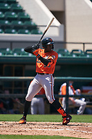 Baltimore Orioles JC Encarnacion (93) bats during a Minor League Spring Training game against the Detroit Tigers on April 14, 2021 at Joker Marchant Stadium in Lakeland, Florida.  (Mike Janes/Four Seam Images)