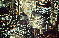 A SIMILAR TO THIS IMAGE IS AVAILABLE FOR LICENSING FROM GETTY IMAGES:  Please go to www.gettyimages.com and search for image # 10173649.<br /> <br /> Blurred Motiion and Aerial View of Midtown Manhattan at Night, New York City, New York State, USA