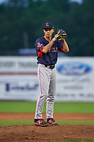 Lowell Spinners relief pitcher Ryan Oduber (12) gets ready to deliver a pitch during a game against the Batavia Muckdogs on July 12, 2017 at Dwyer Stadium in Batavia, New York.  Batavia defeated Lowell 7-2.  (Mike Janes/Four Seam Images)