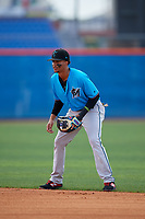Miami Marlins second baseman Gerardo Nunez (57) during a Minor League Extended Spring Training game against the New York Mets on April 12, 2019 at First Data Field Complex in St. Lucie, Florida.  (Mike Janes/Four Seam Images)