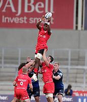 9th September 2020; AJ Bell Stadium, Salford, Lancashire, England; English Premiership Rugby, Sale Sharks versus Saracens;  Joel Kpoku of Saracens takes a line out ball