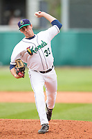 Cedar Rapids Kernels pitcher Steve Gruver #33 pitches during a game against the Kane County Cougars at Veterans Memorial Stadium on June 9, 2013 in Cedar Rapids, Iowa. (Brace Hemmelgarn/Four Seam Images)
