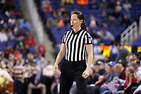 GREENSBORO, NC - MARCH 07: Official Maj Forsberg during a game between Boston College and NC State at Greensboro Coliseum on March 07, 2020 in Greensboro, North Carolina.
