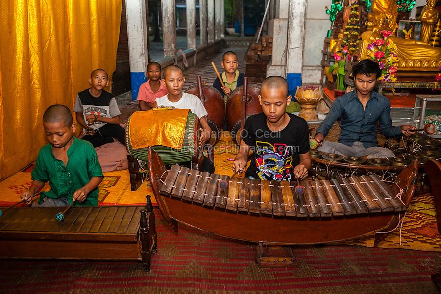 Cambodia, Angkor Wat.  Young Boys' Orchestra.